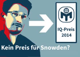 Kein IQ-Preis 2014 für Snowden?